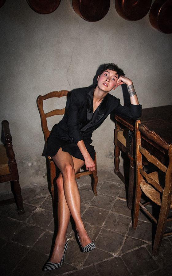 Robe smoking sur mesure - Sandrine Rocher Derichebourg